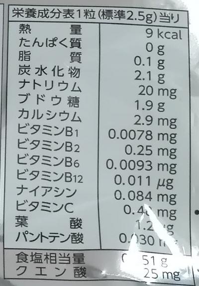 塩分&クエン酸&ミネラル入りタブレット 栄養成分表